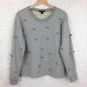 J. Crew Pom-Pom Sweatshirt Gray M